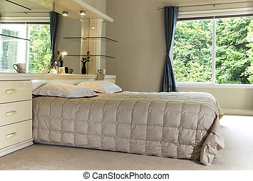 王, カーテン, 提示, 寝室, 木, ベッド, 大きい, マスター, 背景, 鏡, 緑, 開いた, 大きさ
