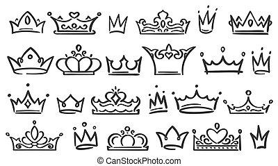 王, セット, ティアラ, スケッチ, いたずら書き, 女王, 隔離された, イラスト, 手, ∥あるいは∥, ベクトル...