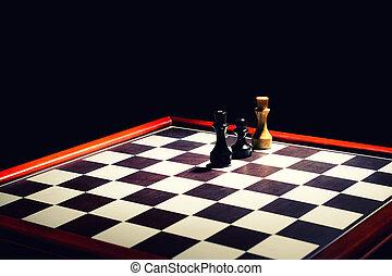 王, チェス盤, 白, dark., ポーン, こう着状態