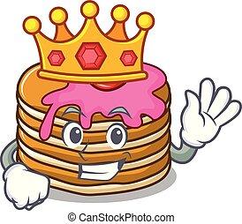 王, マスコット, 漫画, パンケーキ, いちご