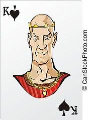 王, ロマンチック, デッキ, グラフィックス, カード, spade.