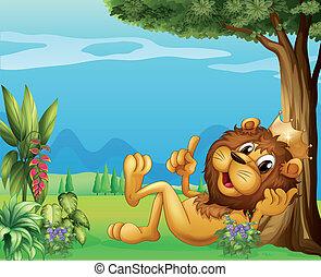 王, 弛緩, 大きい木, ライオン, 下に