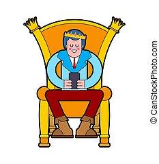 王, 皇族, 若い, イラスト, ベクトル, chair., throne., 王子