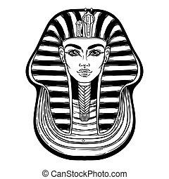 王, 着色, pharaoh., エジプト人, tutankhamun, ∥あるいは∥, 古代, アウトライン, ベクトル, ポスター, 入れ墨, page., illustration., 葉書, 型, tシャツ, フラッシュ, hand-drawn, マスク, デザイン, 本