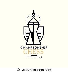 王, 選手権, 紋章, イラスト, ベクトル, 黒, チェス, ロゴ, 白, デザイン