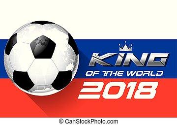 王, 選手権, 背景, カップ, フットボール, 2018, vector., 世界, サッカー