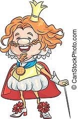 王, 金の王冠, ベクトル, 微笑, 漫画, 幸せ