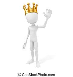王, 金の王冠, 背景, 白, 人, 3d
