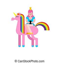 王, 馬, 娘, horn., イラスト, ベクトル, 一角獣, fairy 王女, smartphone.
