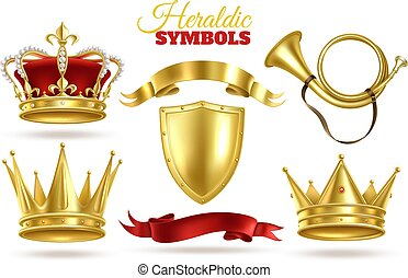 王, symbols., 保護, 金, 金, diadem., heraldic, 女王, 皇族, 型, 装飾, 現実的...