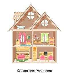玩偶, 房子, 由于, 二, 樓層, 以及, 很少, 家具
