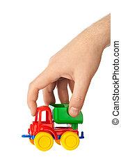 玩具汽車, 卡車, 在, 手