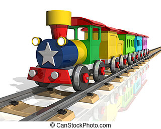玩具火車, 由于, 多种顏色, carriages., 3d, render