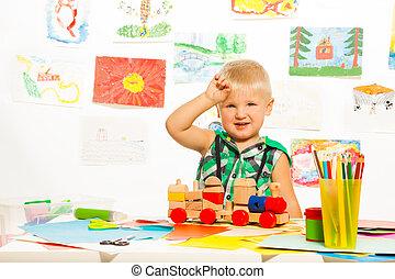 玩具, 同时,, 铅笔, 为, 男孩
