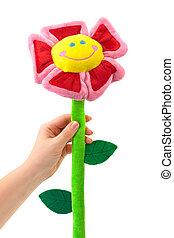 玩具, 花, 在, 手