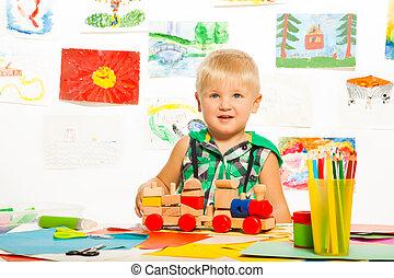 玩具, 铅笔, 是, 最好, 男孩, 朋友