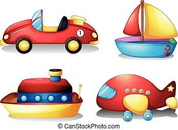 玩具, 集合, 在, 紅和黃