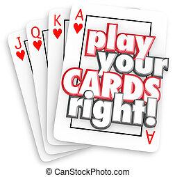 玩, 你, 卡片, 權利, 演奏遊樂場, 戰略, 贏得, 競爭