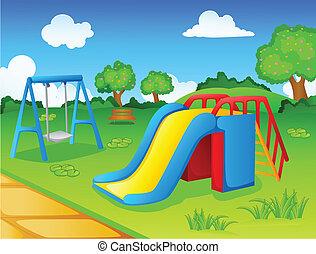 玩, 公園, 孩子