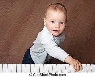 玩, 鍵盤, 音樂, 鋼琴, 孩子