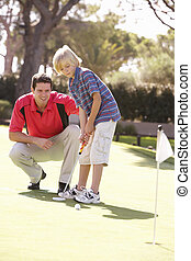 玩, 高尔夫球, 父亲, 儿子, 放, 教学, 绿色