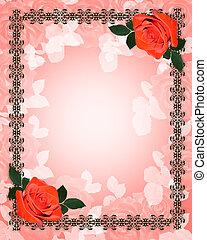 玫瑰, 婚禮, 紅色, 邀請