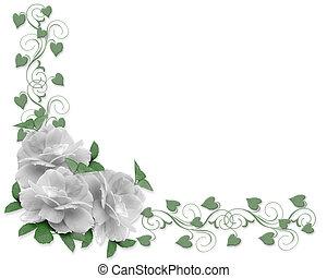 玫瑰, 婚禮, 邊框, 邀請
