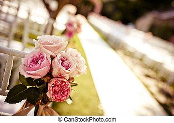 玫瑰, 椅子, 裝飾, 婚禮