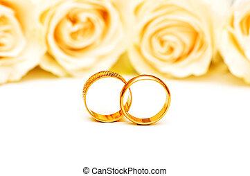 玫瑰, 白色, 戒指, 被隔离, 婚禮