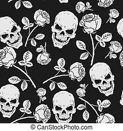 玫瑰, 頭骨, seamless, 圖案