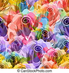 玫瑰, pattern., 矢量, eps, 10