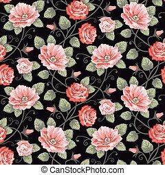 玫瑰, seamless, 圖案