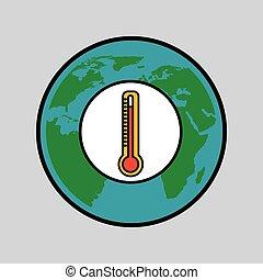 环境, 全球, 概念, 暖和, 图标