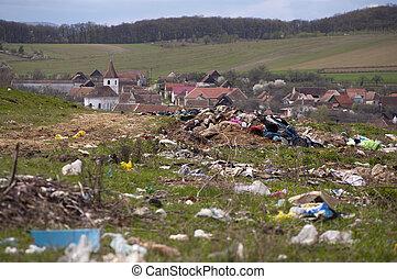 环境, 污染, -, 倾倒, 近, 村庄