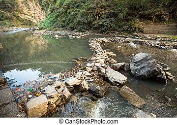 环境, 污染, 在中, the, himalayas., 垃圾, 在水中, 在中, bagmati, river.