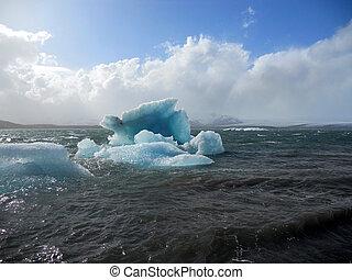环礁湖, 浮动, jokulsarlon, 冰岛, 巨大, 冰山