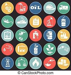 环绕, 套间, 油, 图标, 工业, 背景