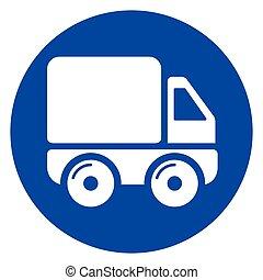 环绕, 概念, 卡车, 图标