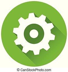 环绕, 概念, 绿色, 齿轮, 图标