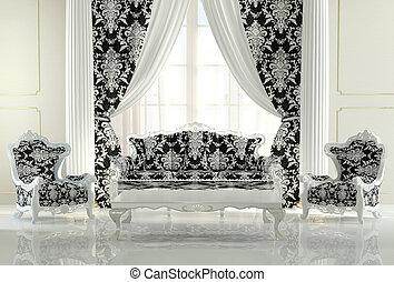现代的家具, 在中, 巴罗克艺术风格, 设计, 内部, apartment., 皇家, 沙发, 同时,, 二, 模式, 扶手椅子
