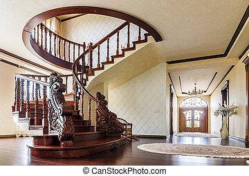 现代的建筑学, 内部, 带, 第一流, 巨大, 奢侈, hallway, 带, 弯曲, 有光泽, 木制, staps, 楼梯, 在中, 现代, 层, 房子