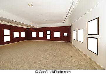 现代的美术馆, 空间, 带, 空白的帆布