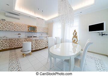 现代, 同时,, 白色, 厨房