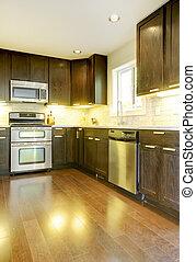 现代, 奢侈, 新, 黑暗, 棕色和白色, kitchen.