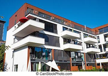 现代, 房子, 带, 阳台