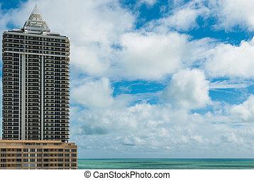 现代, 空中, 迈阿密旅馆, 佛罗里达, 豪华, 摩天楼, 海滩, 察看