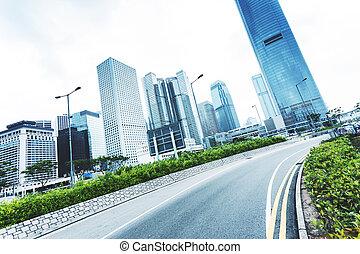 现代, cityscape, 同时,, 道路, 在中, hongkong