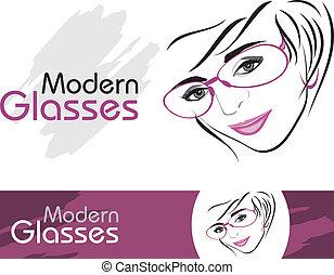 现代, glasses., 图标, 为, 设计