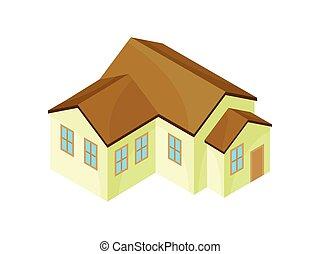现代, house., 描述, 背景。, 矢量, 原色哔叽, 模型, 白色
