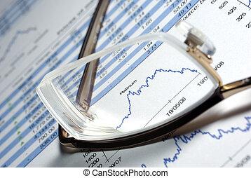 玻璃杯, 同时,, 打印, 金融的报告, 带, 数据, charts.
